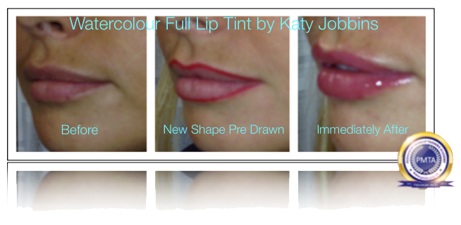 Before During & After Redefine Lip Shape by Katy Jobbins using Permanent Makeup Watercolor Full Lip Tint