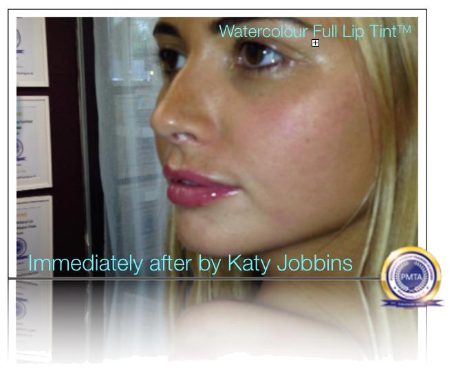 Redefine Lip Shape by Katy Jobbins using Permanent Makeup Watercolor Full Lip Tint