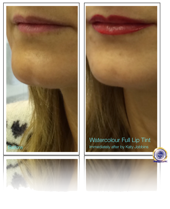 Comparing Client Lips Before and Immediately After Having A Watercolour Full Lip Tint Permanent Makeup Procedure.