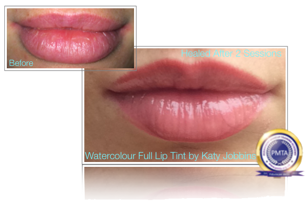 Before And  After 2 Sessions of Permanent Makeup Watercolour Full Lip Tint